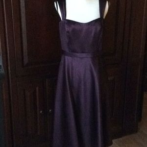 NWT David's Bridal Plum satin dress 12